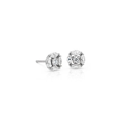 NEW Monique Lhuillier Cherie Diamond Button Earrings in 18k White Gold (2/5 ct. tw.)
