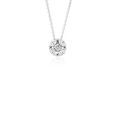 NEW Monique Lhuillier Cherie Diamond Button Pendant in 18k White Gold