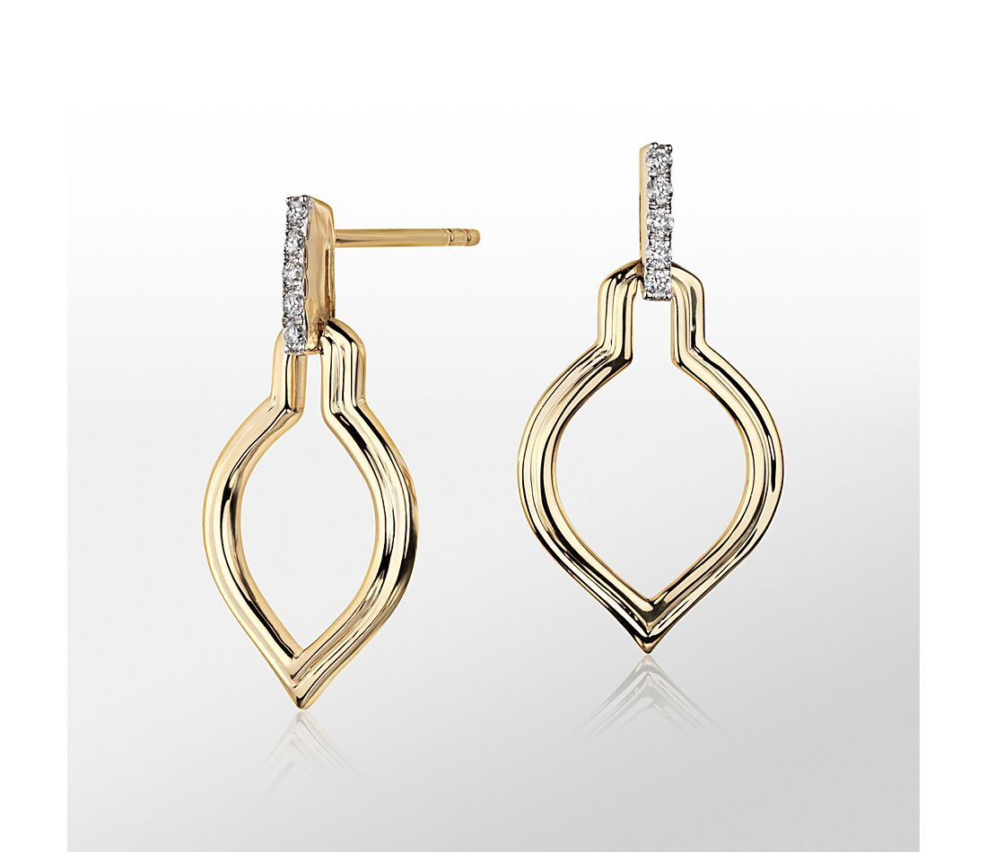 Monique Lhuillier Embrace Diamond Earrings in 18k Yellow Gold
