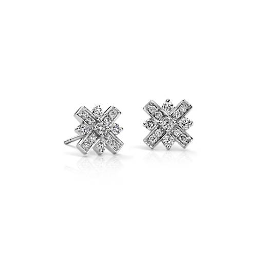 Diamond XO Earrings in 18k White Gold (1/2 ct. tw.)