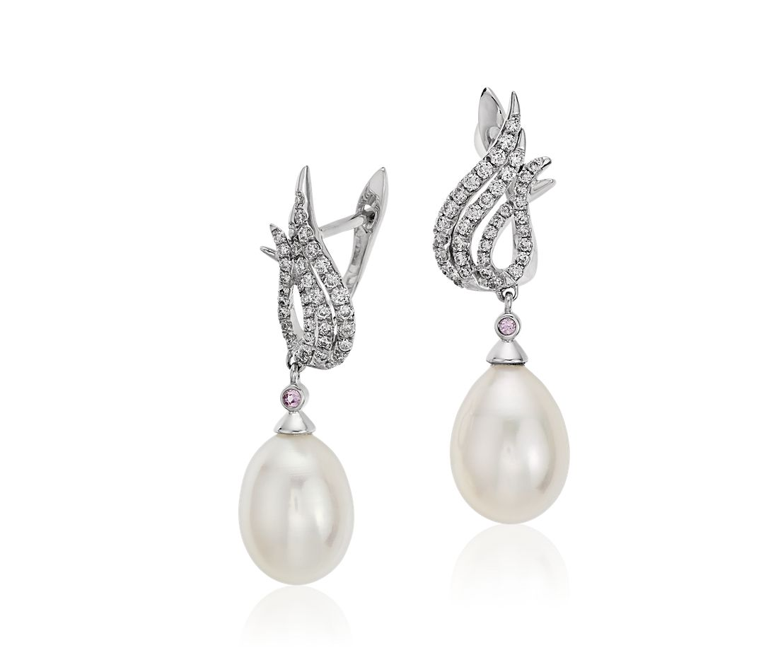 Monique Lhuillier Freshwater Cultured Pearl and Diamond Flame Earrings in 18k White Gold (8.5mm)