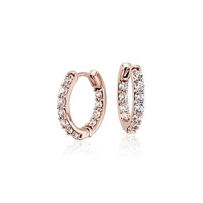 NEW Monique Lhuillier Diamond Hoop Earrings in 18k Rose Gold