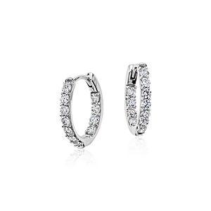 Monique Lhuillier Diamond Hoop Earrings in 18k White Gold (3/4 ct. tw.)