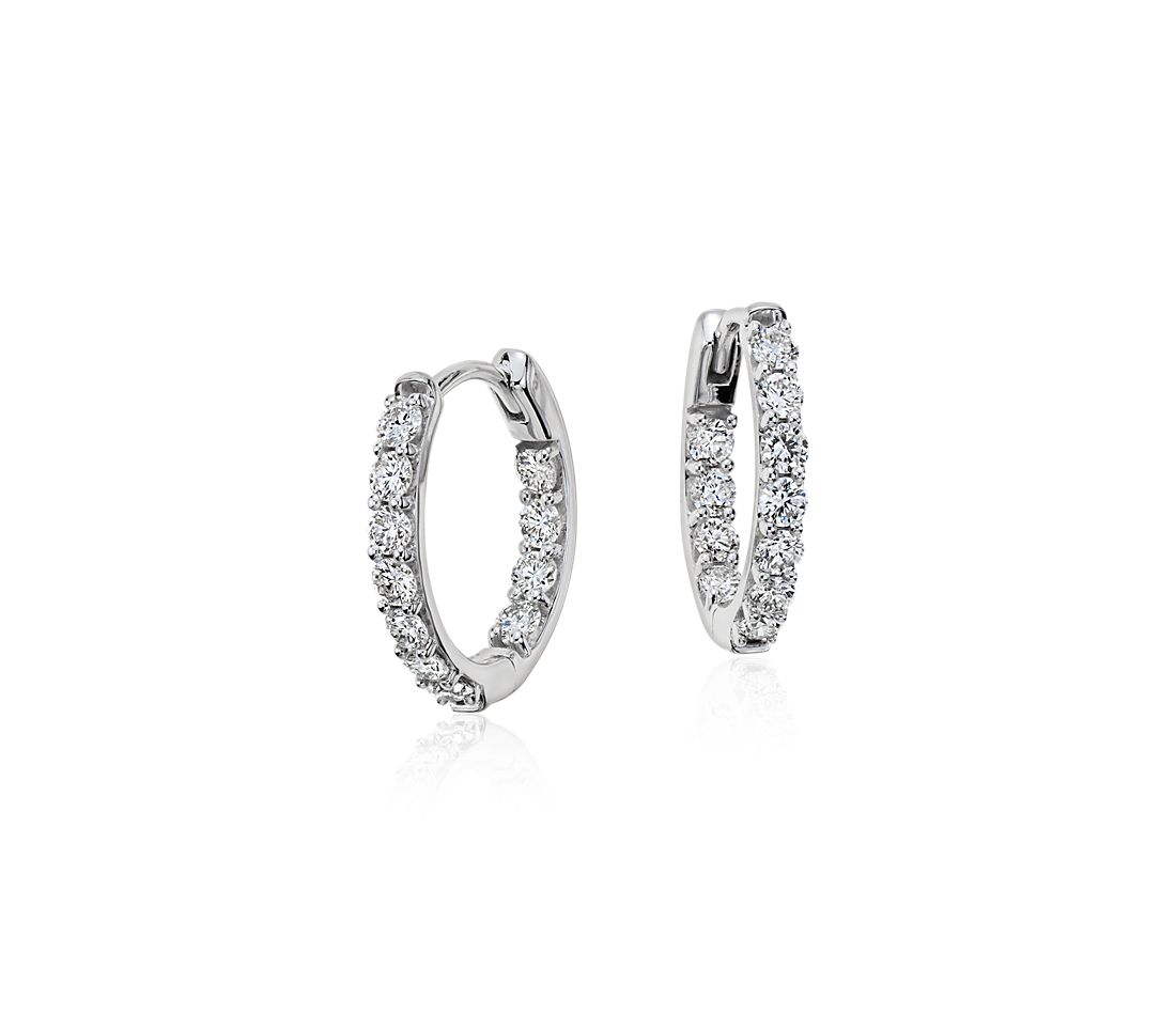 Monique Lhuillier Diamond Hoop Earrings in 18k White Gold (0.73ct tw)