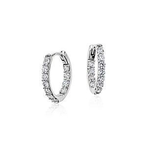 Monique Lhuillier Diamond Hoop Earrings in 18k White Gold (3/4 ct. tw.)