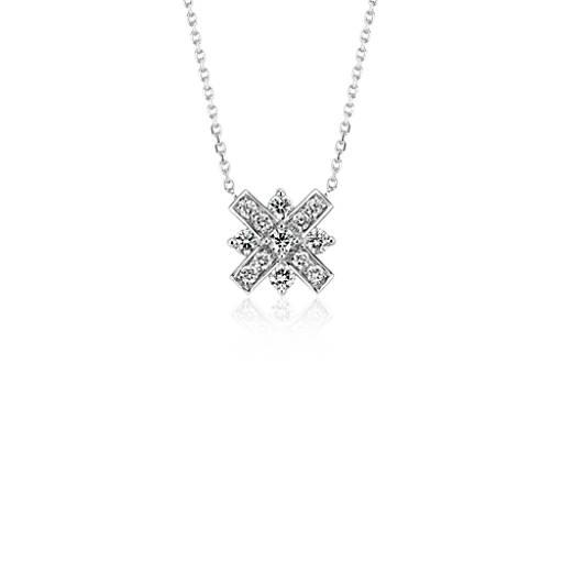 Monique Lhuillier Diamond XO Necklace in 18k White Gold