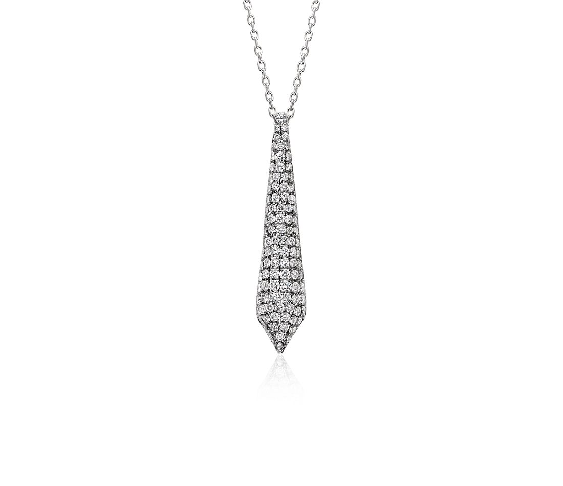 Monique Lhuillier Diamond Prism Pendant in 18k White Gold