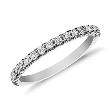 Monique Lhuillier French Pavé Diamond Ring in Platinum