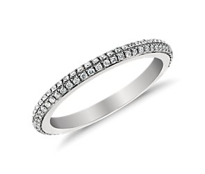 Monique Lhuillier Double Diamond Ring in Platinum