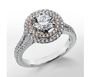 Monique Lhuillier Double Halo Diamond Engagement Ring