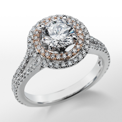 Monique Lhuillier Double Halo Diamond Engagement Ring in Platinum