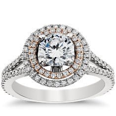 Monique Lhuillier Double Halo Engagement Ring in Platinum