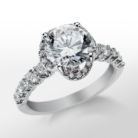 Monique Lhuillier Draping Halo Engagement Ring