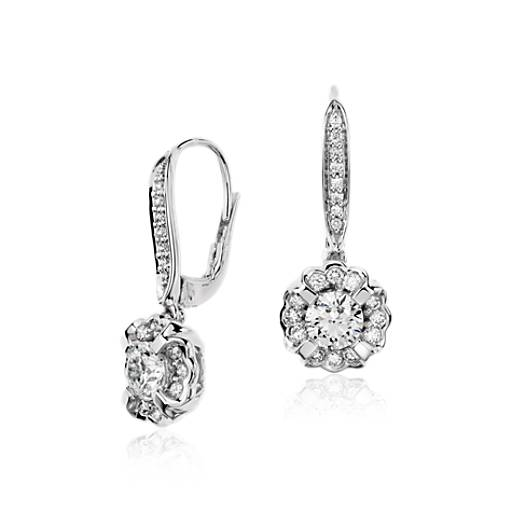 Monique Lhuillier Floral Drop Diamond Earrings in 18k White Gold
