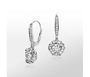 Monique Lhuillier Floral Drop Diamond Earrings