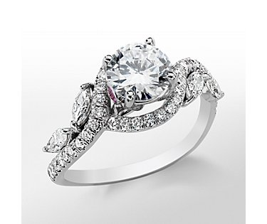 Monique Lhuillier Floral Diamond Engagement Ring