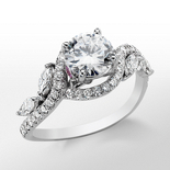 Monique Lhuillier Floral Diamond Engagement Ring in Platinum