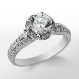 Monique Lhuillier Floral Crown Engagement Ring in Platinum