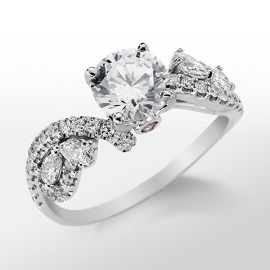 Monique Lhuillier Floral Twist Diamond Engagement Ring