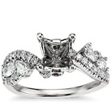 Monique Lhuillier Floral Twist Diamond Engagement Ring in Platinum