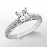 Monique Lhuillier Cathedral Pavé Engagement Ring in Platinum