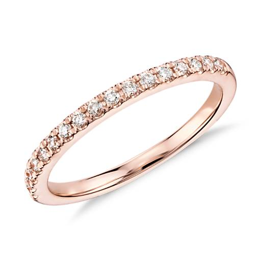 NEW Monique Lhuillier French Pave Diamond Ring in 18k Rose Gold (1/5 ct. tw.)
