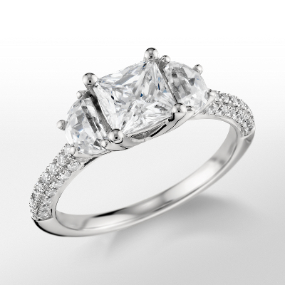 Monique Lhuillier Half Moon Diamond Engagement Ring in Platinum