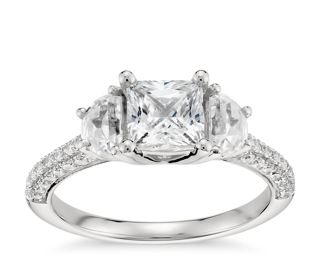 Monique Lhuillier Half Moon Diamond Engagement Ring in Platinum (3/4 ct. tw.)