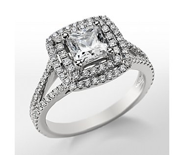Monique Lhuillier Princess Double Halo Engagement Ring