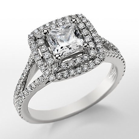 Monique Lhuillier Princess Cut Double Halo Diamond Engagement Ring