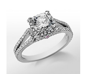Monique Lhuillier Halo Diamond Engagement Ring