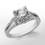 Monique Lhuillier Halo Diamond Engagement Ring in Platinum