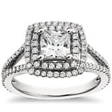 Monique Lhuillier Princess Double Halo Engagement Ring featured in Glamour.com