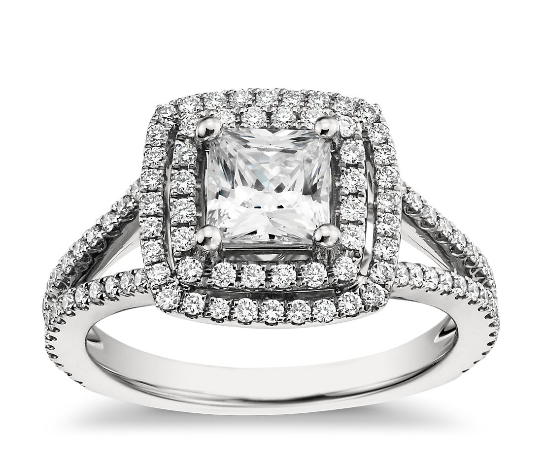 Monique Lhuillier Princess Cut Double Halo Diamond Engagement Ring in Platinum
