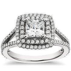 Monique Lhuillier Halo Diamond Engagement Ring in Platinum