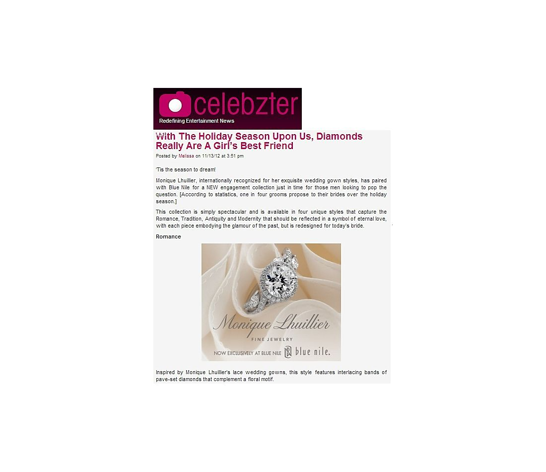 Monique Lhuillier Floral Halo Engagement Ring featured in Celebzter