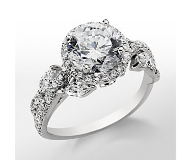 Monique Lhuillier Floral Halo Engagement Ring