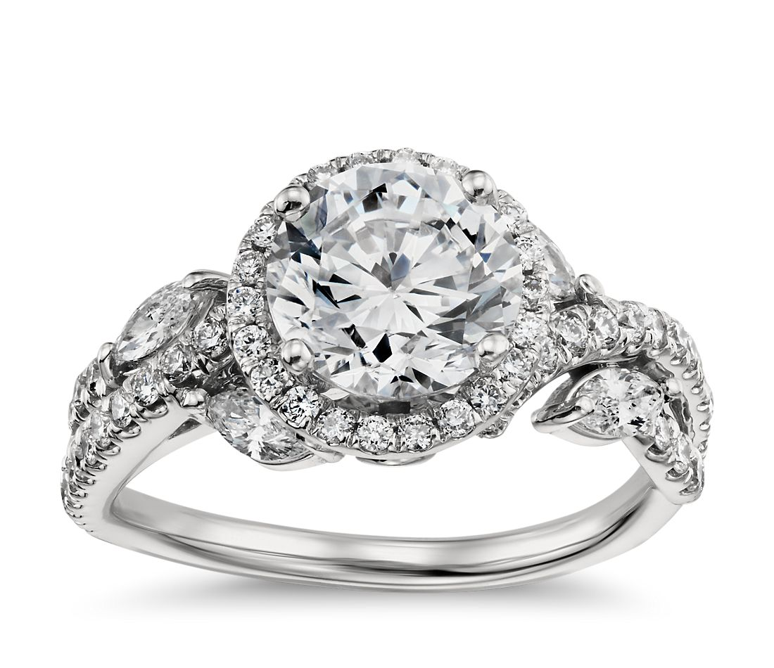 Monique Lhuillier Floral Halo Diamond Engagement Ring in ...