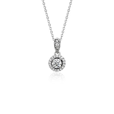 Monique Lhuillier Halo Pendant in 18k White Gold (1/3 ct. t.w)