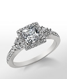 Monique Lhuillier Princess Cut Halo Diamond Engagement Ring