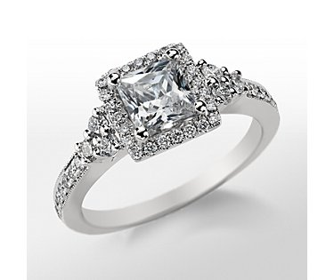 Monique Lhuillier Princess Halo Engagement Ring