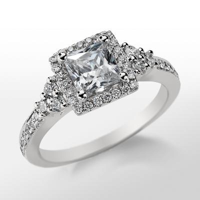 Monique Lhuillier Princess Cut Halo Diamond Engagement Ring in Platinum