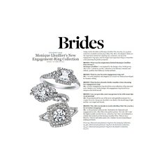 Monique Lhuillier Princess Halo Engagement Ring featured in Brides Magazine
