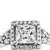 Monique Lhuillier Princess Cut Halo Diamond Engagement Ring in Platinum