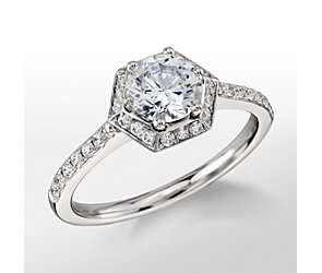 Monique Lhuillier Hexagon Halo Engagement Ring
