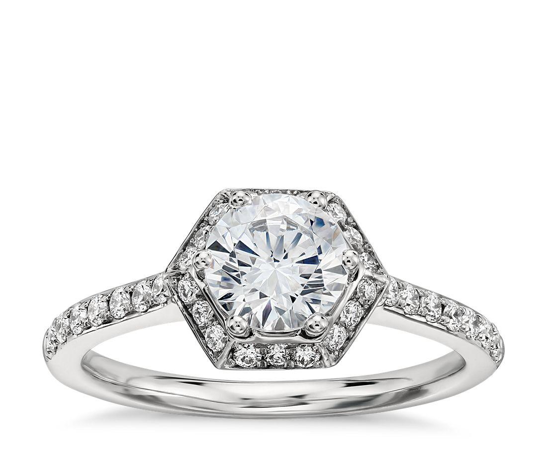 Monique Lhuillier Hexagon Halo Engagement Ring in Platinum