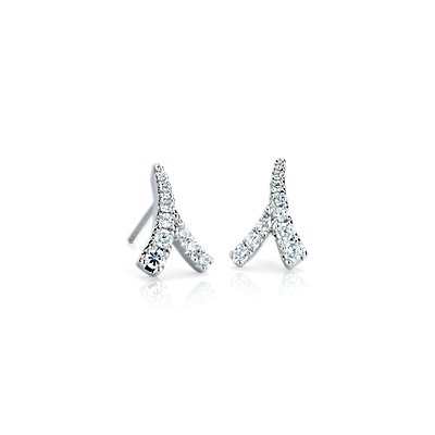 NUEVO. Aretes de diamantes Laurel de Monique Lhuillier, en oro blanco de 18 k (1/4 qt. total)