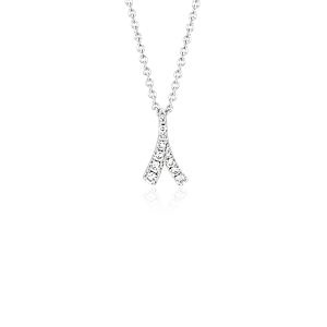 Pendentif diamant Laurel de Monique Lhuillier en or blanc 18 carats