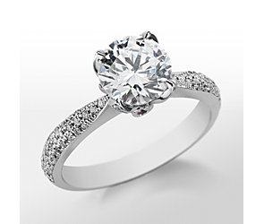 Monique Lhuillier Pavé Leaf Engagement Ring