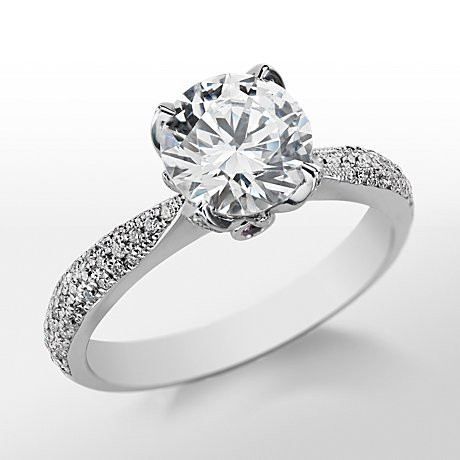 Monique Lhuillier Pavé Leaf Diamond Engagement Ring